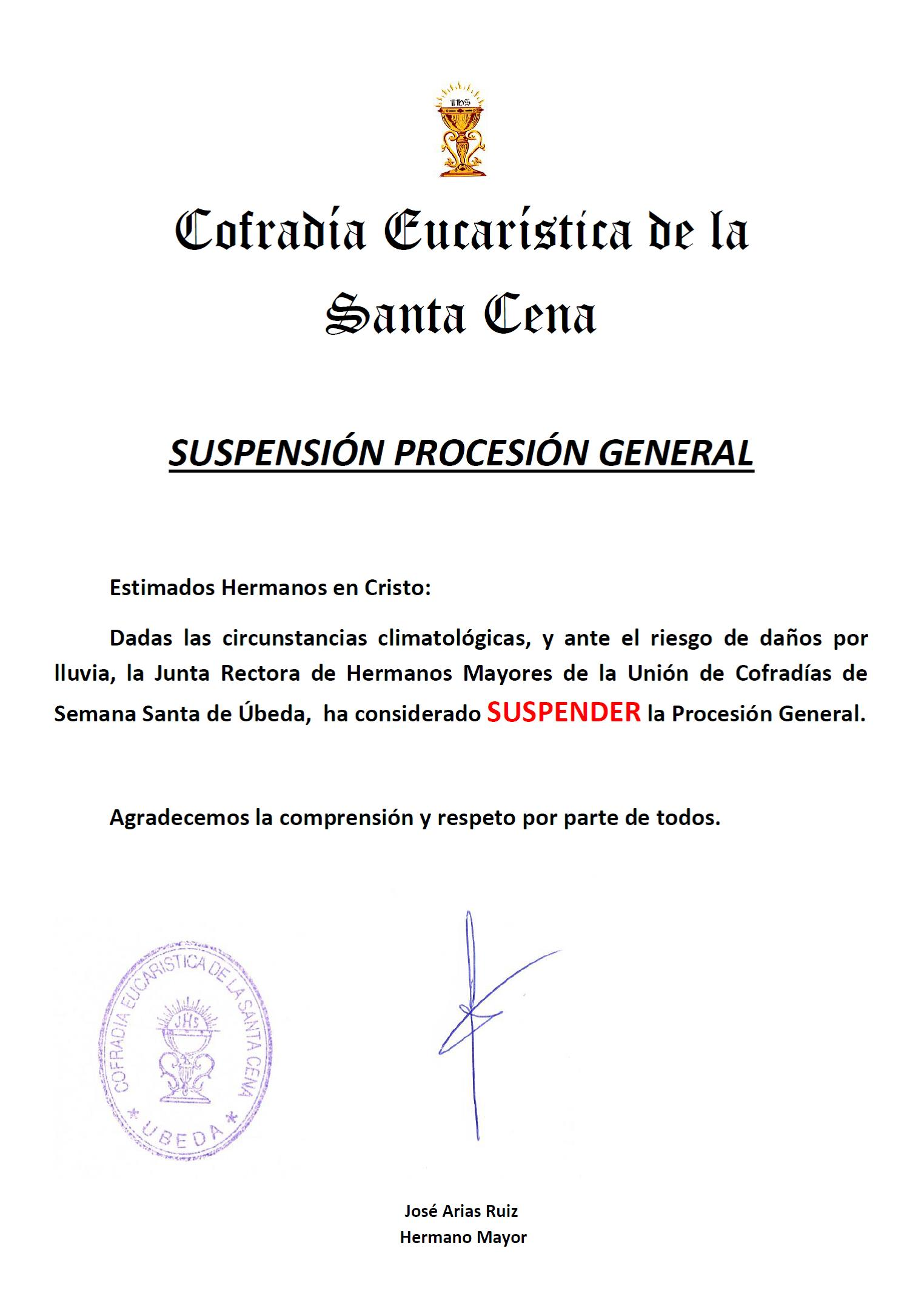 suspension general cena 2019